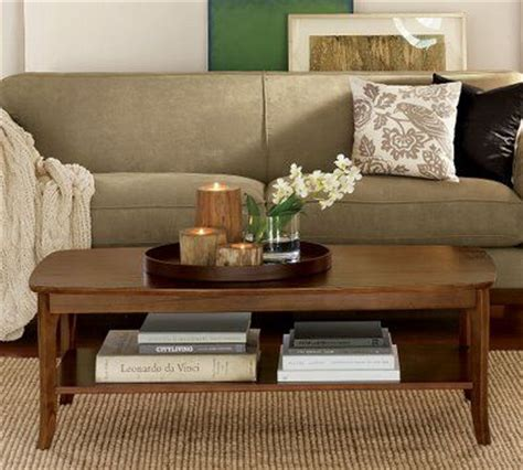 living room tray coffee table decor contained by tray neutrals green