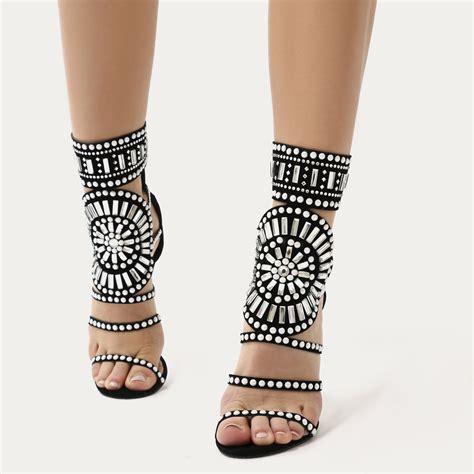 Heels Pesta Maroon Black Suede cleopatra embellished stiletto heels in black faux suede desire us