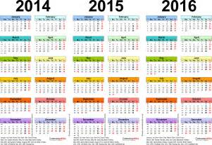 Calendar Template 2014 Uk by Three Year Calendars For 2014 2015 2016 Uk For Excel