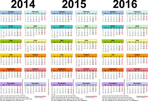 calendar 2014 template uk three year calendars for 2014 2015 2016 uk for excel