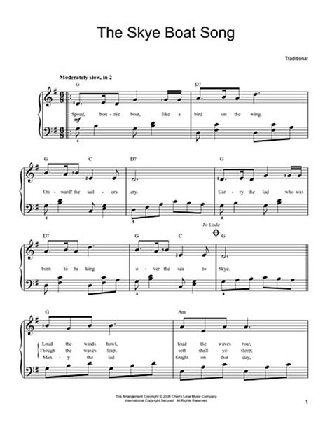 skye boat song in d download the skye boat song sheet music by traditional