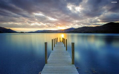 Landscape Wall Murals Wallpaper small wooden pier on the calm lake wallpaper