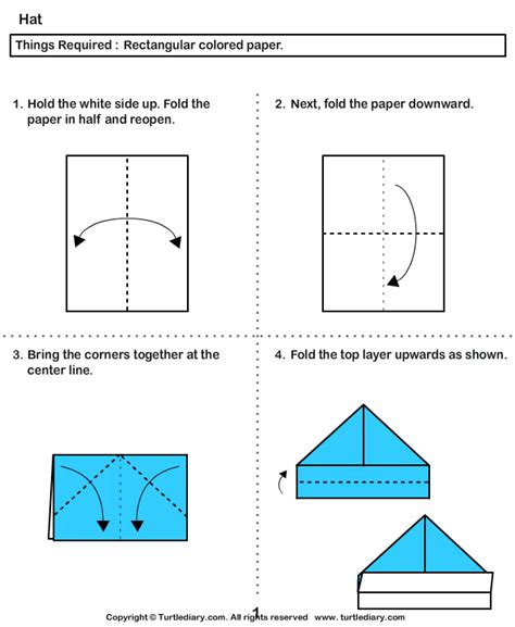 Paper Hat Folding - easy origami boat hat comot