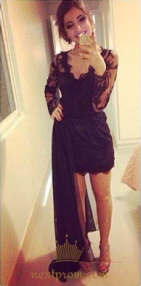 black sheer lace long sleeve  neck short dress