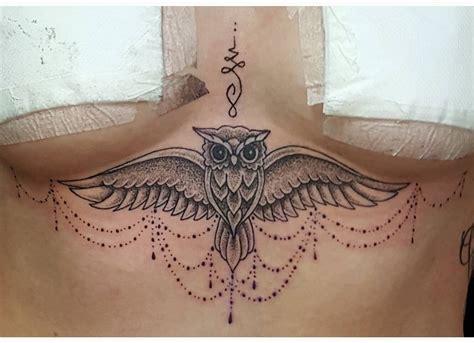 owl tattoo under chest sternum tattoo designs chhory tattoo