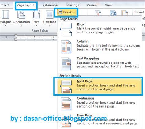 cara membuat halaman berbeda di word 2010 untuk skripsi cara membuat halaman berbeda di ms word terbaru