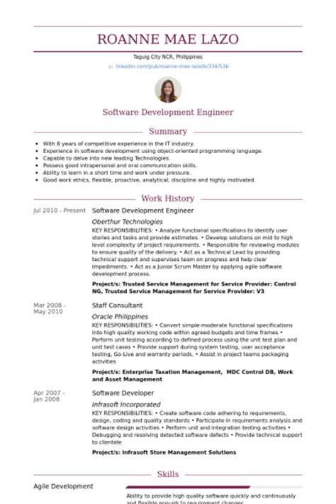 Software Development Engineer Resume samples   VisualCV resume samples