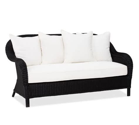 black barn upholstery supplies palmetto all weather wicker sofa black pottery barn