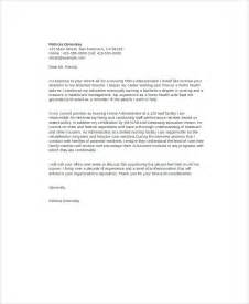 Cover Letter For Nursing Home by 8 Nursing Cover Letter Exle Free Sle Exle