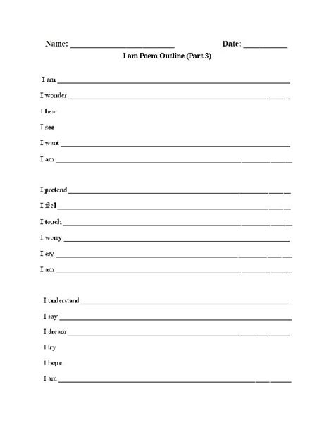 Outline For An I Am Poem by I Am Poem Outline 3 Poetry Worksheet Englishlinx Board I Am Poetry And Poem