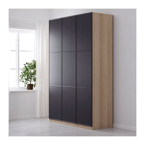 PAX Wardrobe White stained oak effect/meråker grey 150x60x236 cm IKEA