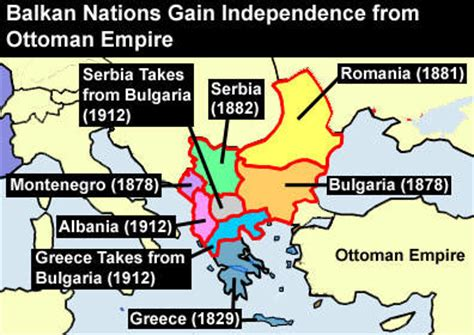ottoman empire ww1 timeline map showing how the balkan nations gained independence