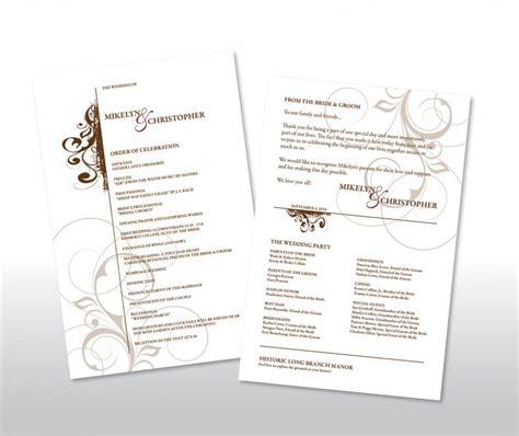 simple wedding program template 21 wedding program templates free sle exle