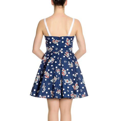 Mini Dress Navy Polka hell bunny navy blue 50s nautical mini dress oceana polka dot all sizes ebay