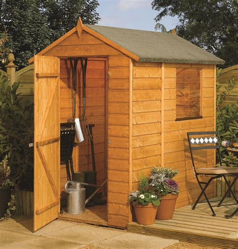 This rowlinson 6x4 apex garden shed is built using 12mm tongue amp groove shiplap this shed is