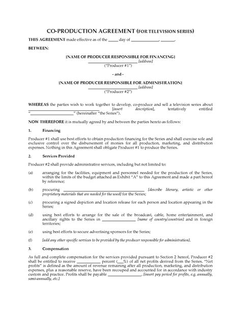 co production agreement template co production agreement for tv series forms and