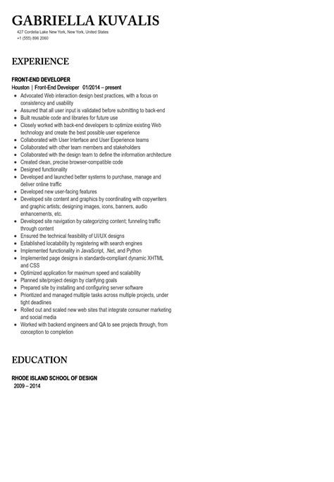 Front End Developer Resume by Front End Developer Resume Sle Velvet