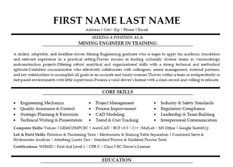 Resume Exles Mining Mining Engineer In Resume Template Premium Resume Sles Exle