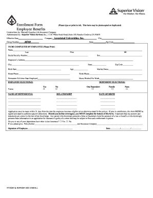 Enrollment Form Employee Benefits Nrao Fill Online Printable Fillable Blank Employee Insurance Enrollment Form Template