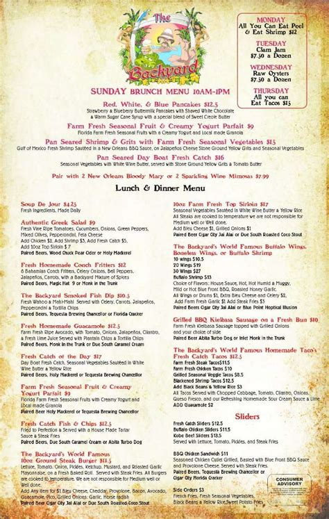 the backyard menu the backyard menu menu for the backyard boynton beach
