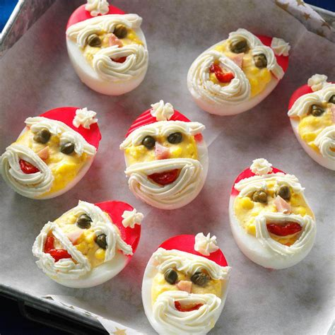 taste of home christmas deviled eggs santa deviled eggs recipe taste of home