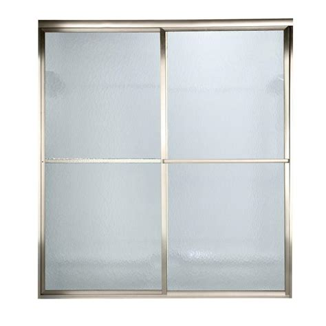 American Standard Prestige 48 In X 64 5 In Framed Bypass Hammered Glass Shower Door