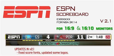 espn nba scoreboard nba 2k14 espn scoreboard mod updated to v2 1 nba2k org