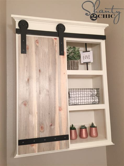 Building Storage Cabinets With Doors Diy Sliding Barn Door Bathroom Cabinet Shanty 2 Chic