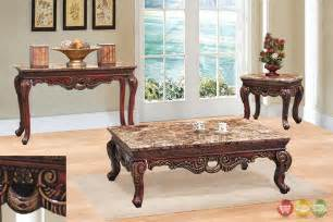 Set Of Tables For Living Room Traditional 3 Living Room Coffee End Table Set W Marble Tops