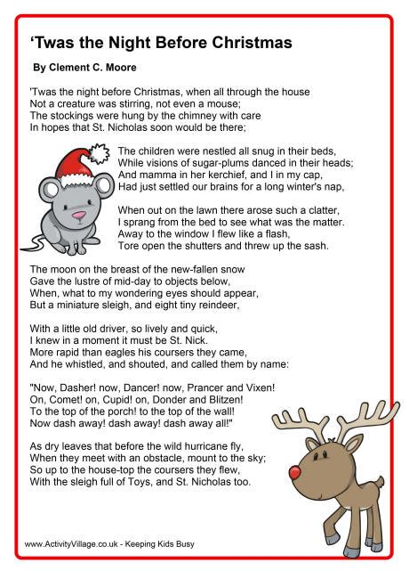 printable version of the nativity story twas the night before christmas