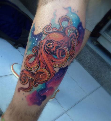 Leg Colorful impressive colorful octopus on leg
