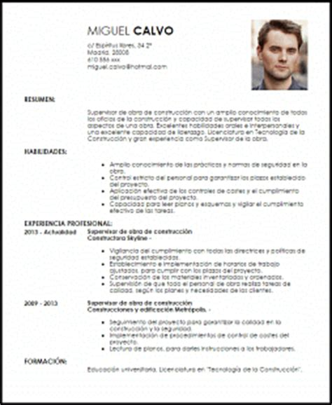 Modelo De Curriculum Vitae Para Trabajo En Construccion Modelo Curriculum Vitae Supervisor De Obra De Construcci 243 N Livecareer