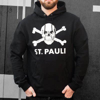 Hoodie St Pauli 3 skull pullover hoodie black official fc st pauli