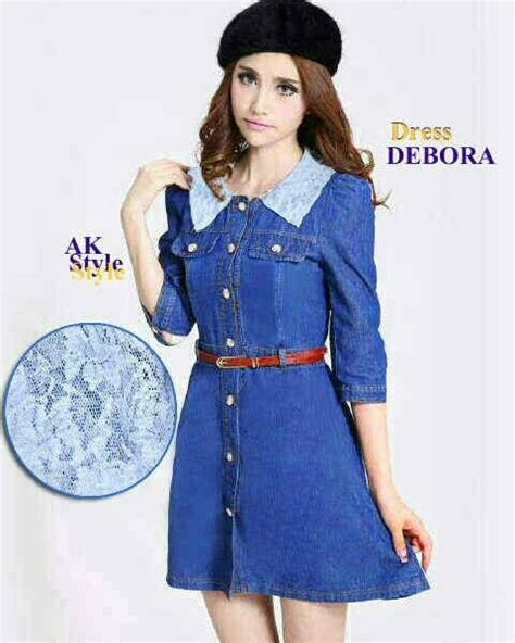Baju Dress Wanita Dress Denim baju mini dress denim debora dress cantik terbaru murah