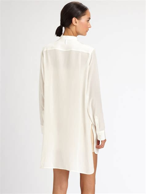 Neil Dress neil barrett silk shirt dress in white lyst