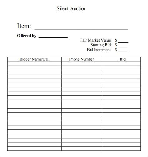 auction bid card templates 6 silent auction bid sheet templates formats exles