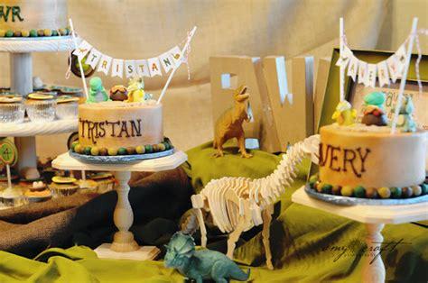 karas party ideas rustic dinosaur twins birthday party