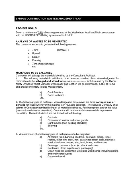 waste management plans template 7 best images of construction management template