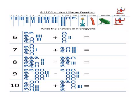printable egyptian numbers egyptian numbers worksheets buscar con google egypt