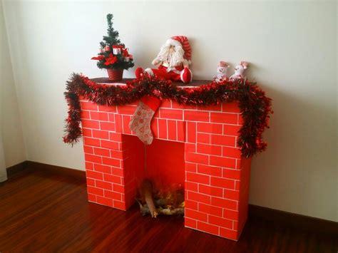 chimenea de navidad chimenea de navidad hecha con cajas de carton chimenea