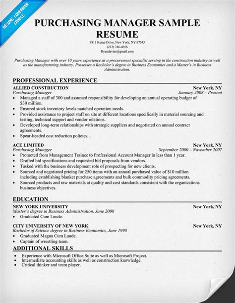 purchase resume format purchasing manager resume resumecompanion resume