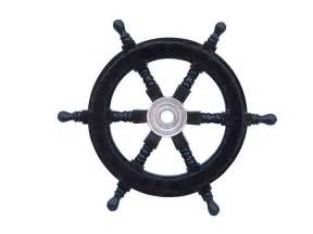 Steering Wheel For A Pirate Ship Deluxe Class Black And Chrome Ship Steering Wheel 12