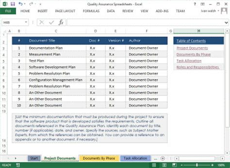 quality assurance spreadsheet template quality assurance plan template ms word 7 excel