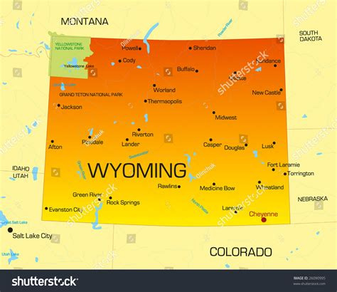 map of wyoming usa vector color map wyoming state usa stock vector 26090995