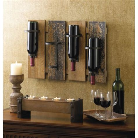 wall mount wine rack bottle holder wood bar rustic storage