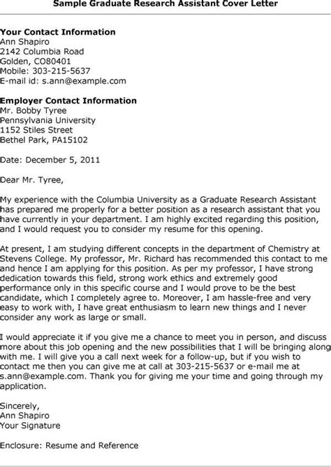 Graduate Assistantship Cover Letter by Research Assistant Cover Letter Jvwithmenow