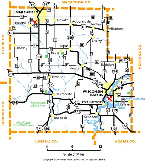 wood county wisconsin map