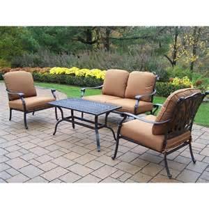 shop oakland living hton 4 aluminum patio conversation set at lowes