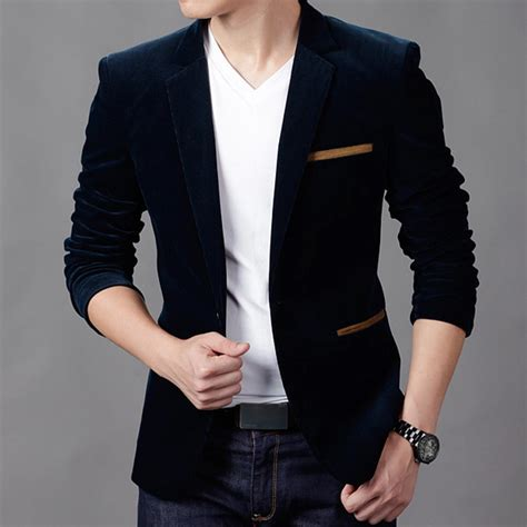 2015 new stylish s slim fit blazer suit casual blazer for velvet jackets thicken