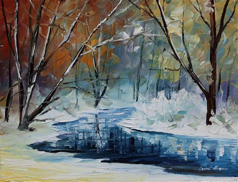 winter themed drawing lost in winter palette knife oil painting on canvas by